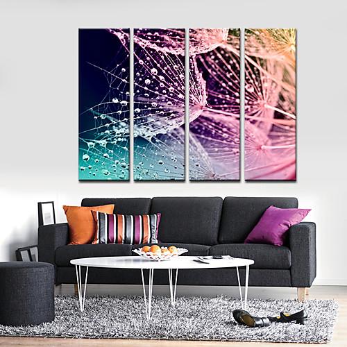 Натянутым холстом печати абстрактный искусства Сети и Waterdrops Набор из 4 Lightinthebox 2577.000