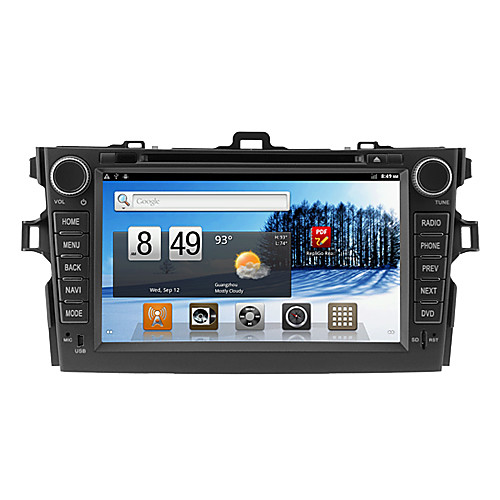 Android 2.3 8 дюймов В-Dash DVD-плеер автомобиля для Toyota Corolla с 3G, WiFi, GPS, RDS, IPOD, BT, ТВ Lightinthebox 14867.000