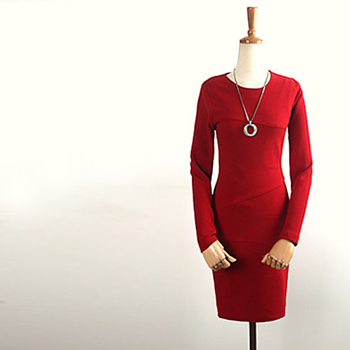 Луна воскресенье Женская Красный Ol Fit с длинным рукавом платье Lightinthebox 515.000