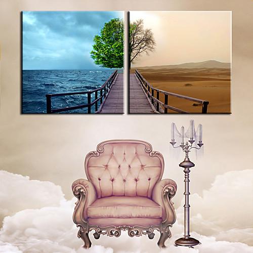 Натянутым холстом печати Искусство ландшафт Вода и пустыня Комплект из 2 Lightinthebox 2577.000