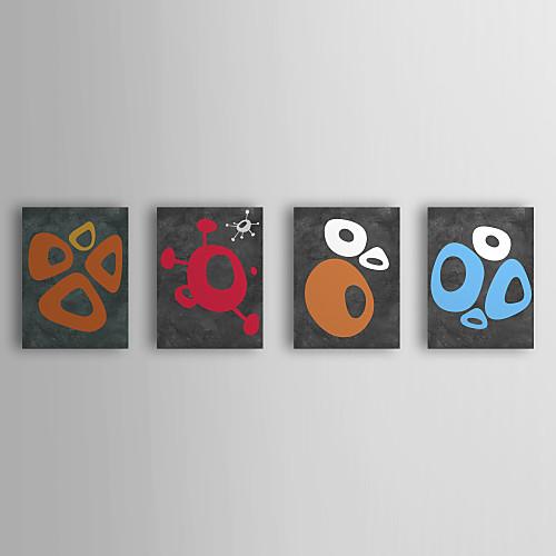 Натянутым холстом Искусство Абстракция овальной формы и всплеск тему Naxart Набор из 4 Lightinthebox 3437.000