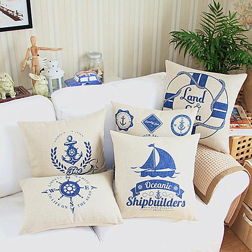 Морской спасательный круг Войти Бежевый хлопок / лен Подушка декоративная крышка Lightinthebox 558.000