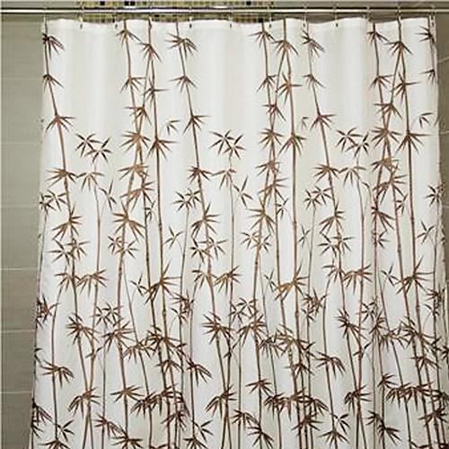 Душевая занавеска Браун Бамбук Распечатать плотной ткани Водонепроницаемость W78