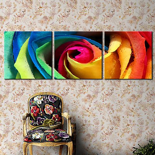 Натянутым холстом печати искусств Ботанический красочных роз Набор из 3 Lightinthebox 2792.000