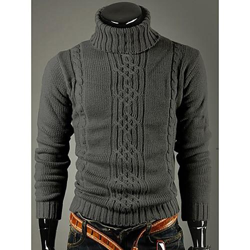 Shangdu Мужская мода высокого нагрудные шеи похудения свитер (Темно-серый) Lightinthebox 1073.000
