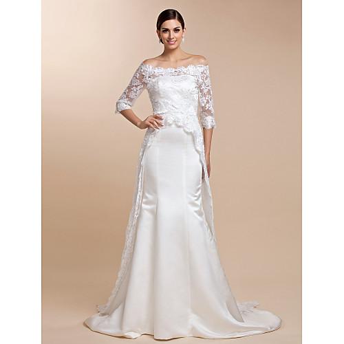 Накидка-шлейф свадебная кружевная с рукавом до логтя (цвета в ассортименте) Lightinthebox 2577.000
