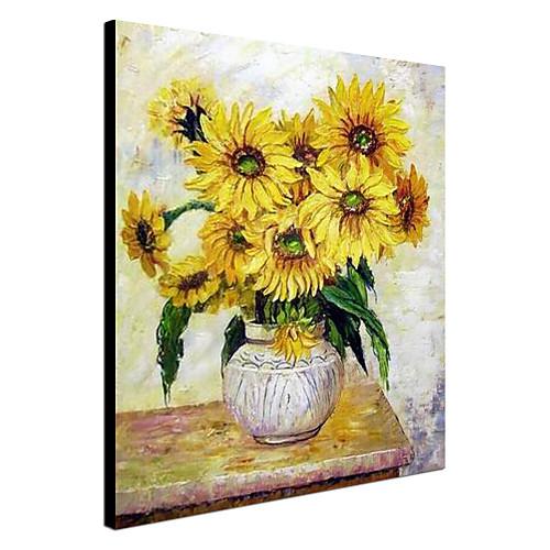 Ручная роспись маслом Натюрморт Подсолнухи с растянутыми Frame Lightinthebox 3866.000