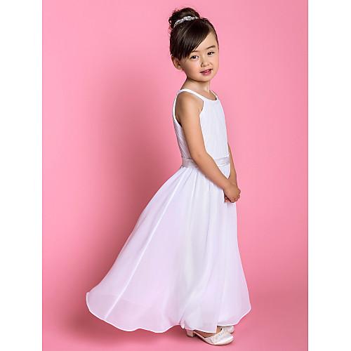 -линии жемчужина длиной до пола, шифона и стрейч атласа Детские платья (733918) Lightinthebox 4296.000