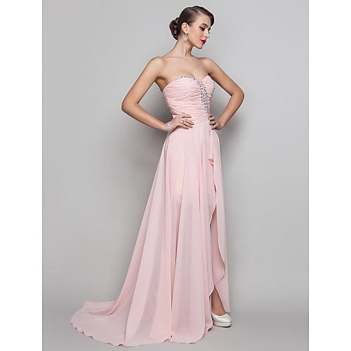 Платье-футляр вечернее из шифона длиной до пола со шлейфом, силуэт колонна,  высокий разрез на бедре, для выпускного бала Lightinthebox 4296.000