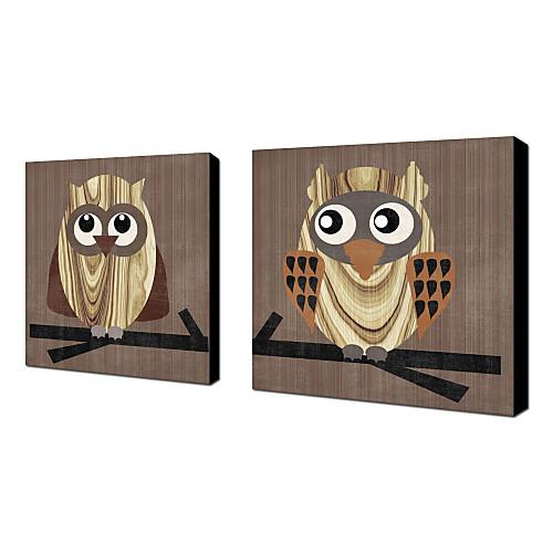 Натянутым холстом искусства животными Сова Эрин Кларк Комплект из 2 Lightinthebox 2577.000