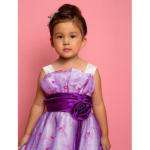 A-Line без рукавов полиэстера и тюля платья девушки цветка Lightinthebox 1718.000