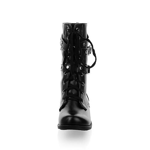 Ботинки армейские женские из кожзама на шнуровке с пряжками и заклепками Lightinthebox 1398.000