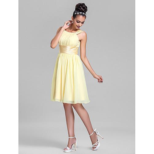 Шифоновое платье-футряр для подружки невесты с атласным поясом, длина до колена Lightinthebox 3402.000