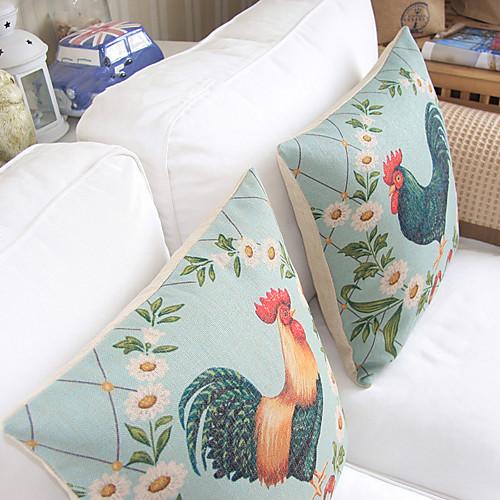 Комплект из 2-американский стиль Петух хлопок / лен Декоративные Чехол Lightinthebox 1288.000