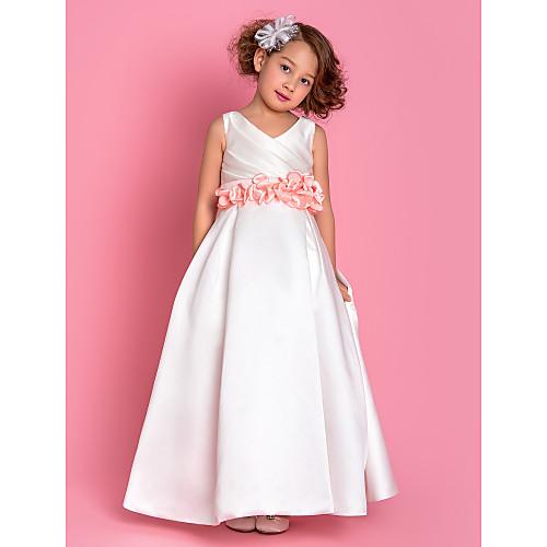 -линии V-образным вырезом длиной до пола атласная Детские платья (733955) Lightinthebox 4296.000