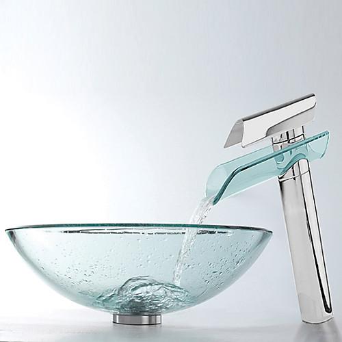 Раковина для ванной комнаты из прозрачного закаленного стекла в комплекте с смесителем с хромированной отделкой Lightinthebox 8164.000