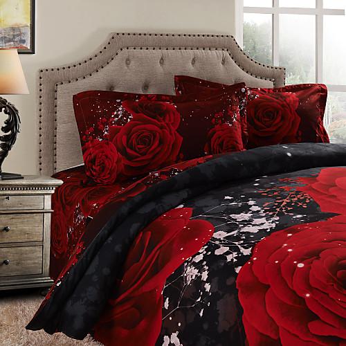 Двуспальный комплект постельного белья из 100% хлопка (2 наволочки, 1 простыня, 1 пододеяльник)
