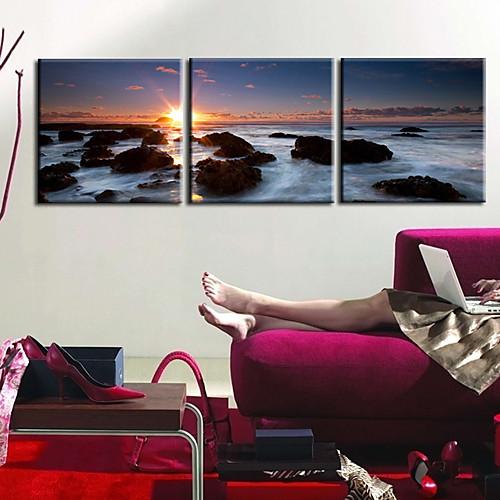 Натянутым холстом печати садово-паркового искусства Риф Набор из 3 Lightinthebox 2577.000