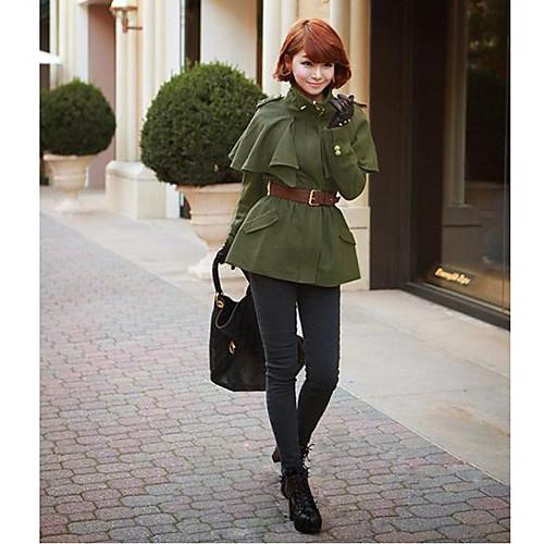 Женская Европа Стиль Пончо Стенд ошейник с длинным рукавом пальто с поясом Lightinthebox 1563.000