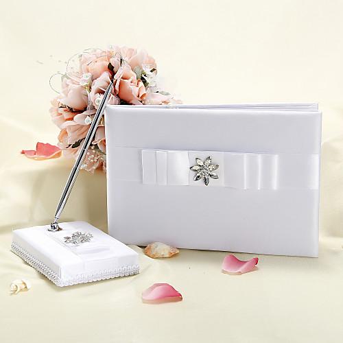 Белое свадебное Гостевая книга и перо набор с Rhinestone и лук