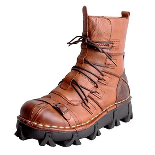 Мужские кожаные плоский каблук Средний-Икры Combat сапоги с шнуровке Lightinthebox 4296.000