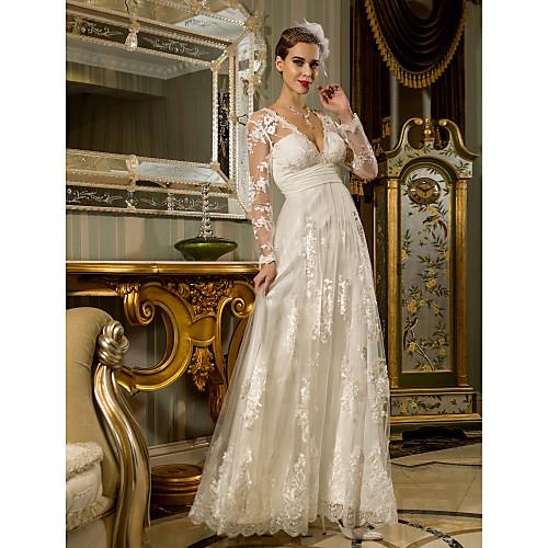 Свадебное платье кружево в-образный вырез