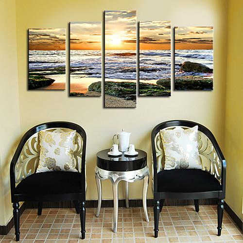 Натяжные Печать холст Искусство Пейзаж Ревущие волны набор из 5 Lightinthebox 4726.000