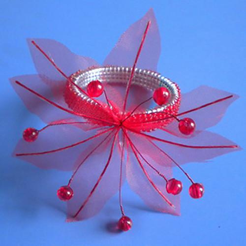Органза Поинсеттиа Свадьба Салфетка Кольцо набор из 12, из органзы Dia 4.5cm, набор из 12 Lightinthebox 622.000