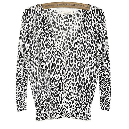 Женская леопардовый Повседневная Туника Кардиган Трикотаж Свитер Блузка Lightinthebox 809.000