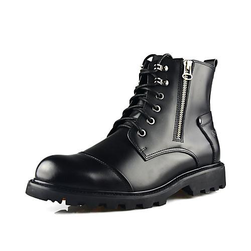 Мужские кожаные плоский каблук Combat сапоги с Lace-up/Zipper Lightinthebox 3866.000