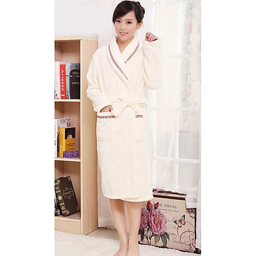 Банный халат, высокого класса девушку Бежевый сплошной цвет одежды Халат Сгущает Lightinthebox 1632.000