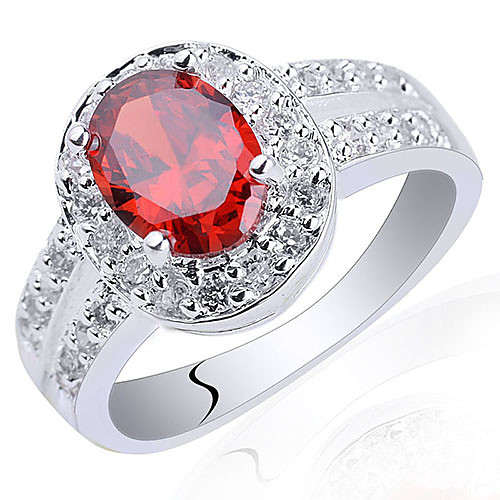 Кольцо стерлингового серебра 925 Для дам с 6X8 овальной формы Корень Zircona Lightinthebox 1374.000