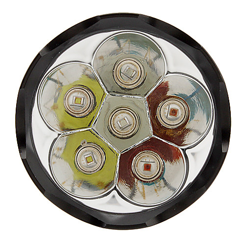 TrustFire TR-1600 4-Mode 6xCree Q5 светодиодный фонарик Ассорти разноцветными огоньками (1600LM, 2x18650, Черный) Lightinthebox 2362.000