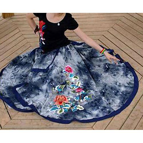 Национальный Хлопок Trend Досуг PersonalityEmbroidery пион Многослойные Нерегулярные колющими эластичный пояс женщина с длинными юбками Lightinthebox 1843.000