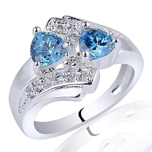 Леди Шик S925 Серебряное кольцо с двумя-сердца 5мм циркон Lightinthebox 1374.000