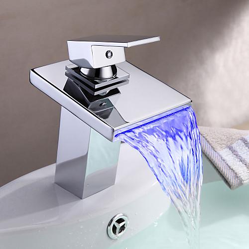 Смеситель для раковины ванной в современном стиле термохромного многоцветные светодиодные нержавеющей стали излив смесителя Lightinthebox 4137.000