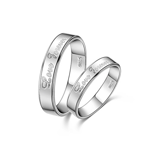Love Forever Надписи серебра 925 с Rhinestone кольца пара Lightinthebox 773.000