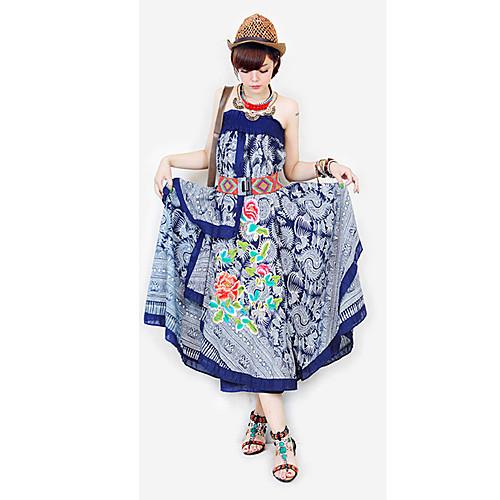 ретро моды хлопок  конопли батик вышивка роза картины многослойные нерегулярные длинные платья (случайная текстура образец) Lightinthebox 1675.000