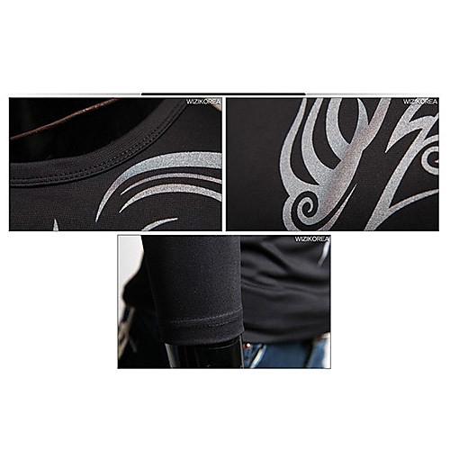 мужская с длинным рукавом шею футболку Slim Fit татуировка стиль хлопок черный Lightinthebox 798.000
