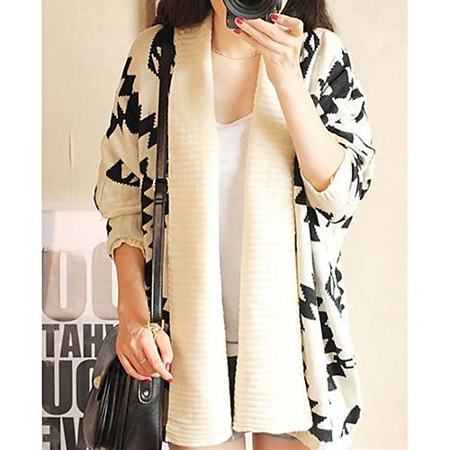 Женская геометрический узор Откройте переднюю свободные свитера Wrap Кабо Кардиган пиджаки