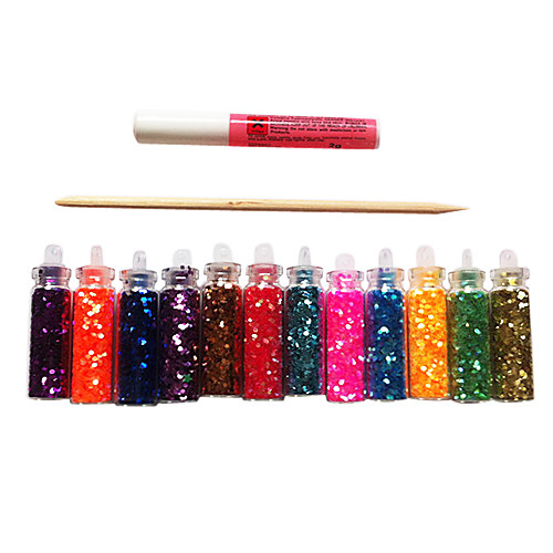 12 Цвет Блеск Лазерные Блестки Nail Art акриловые Стразы Украшения с клей-карандаш Lightinthebox 128.000