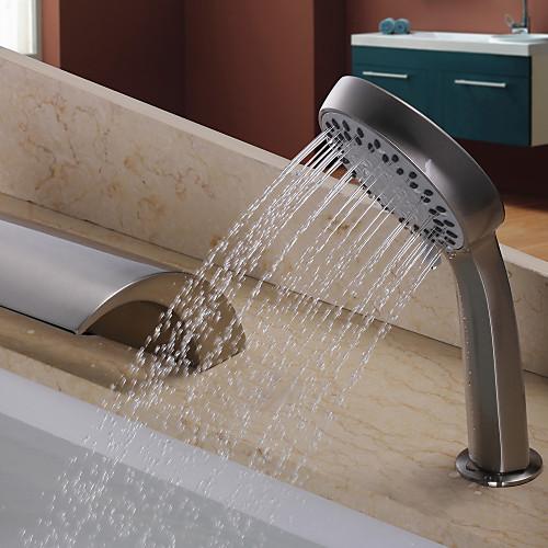 Смеситель-водопад никелированный матовый для ванной с ручным душем