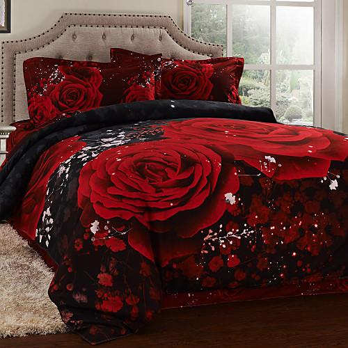 Комплект постельного белья из 4 предметов с 3D принтом алых роз Lightinthebox 2148.000