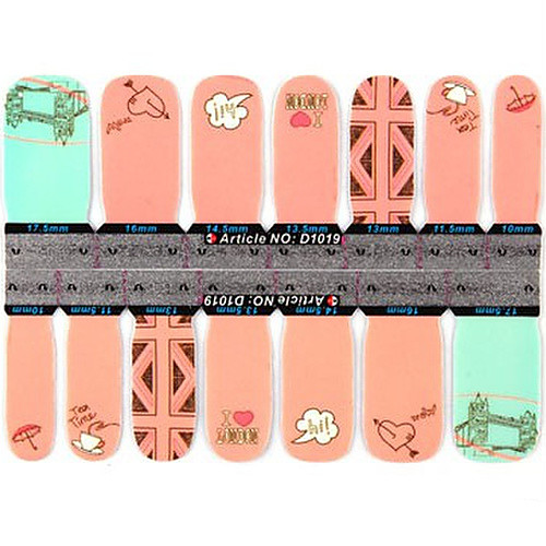 1x14PCS 1-Pattern мультфильм Сердце и Облако Pattern Полное покрытие ногтей Наклейки Lightinthebox 128.000
