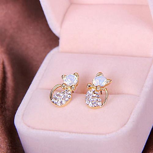 Новая вспышка бриллиантовые серьги ювелирные милый маленький котенок серьги (случайный цвет) Lightinthebox 128.000
