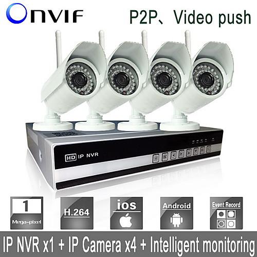Система видеобезопасности Sinocam 4-канальная Wifi H.264 NVR (4 беспроводные IP-камеры 1.0MP 3.6мм для дневного и ночного слежение),P2P Lightinthebox 11601.000