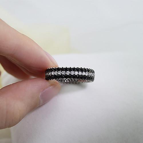 shelyse стерлингового серебра 925 пробы циркон проложить черный и белый 50мм коктейль кольцо Lightinthebox 4294.000