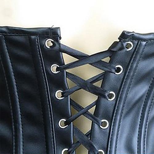 Удивительные Хлопок смесовые ткани Пластиковые Костей шнуровке корсета и Комплект со стрингами Lightinthebox 979.000