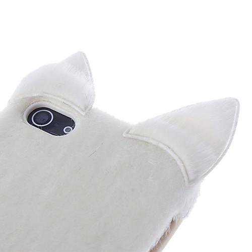 Модный Белый Флокирование ТПУ Мягкий чехол с пушистым хвостом и ушами Sexy Cat для iPhone 5/5S Lightinthebox 343.000