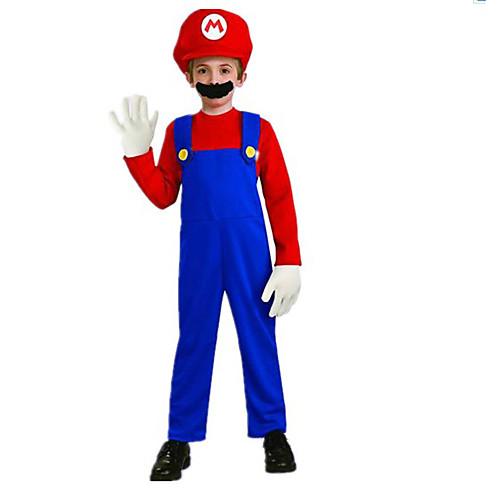 Костюм Супер Марио Красный полиэстер Детский с бородой (для Рост 120-130см) Lightinthebox 1030.000
